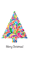 Double DL Christmas Card Design - Colourful Christmas Tree